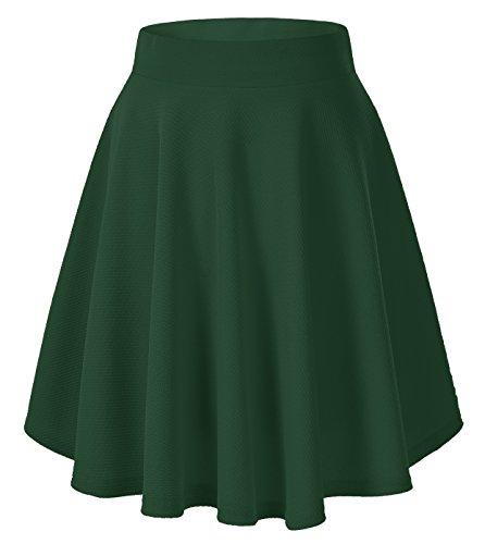 Women's Basic Versatile Stretchy Flared Casual Mini Skater Skirt (Small, Green-Long) -