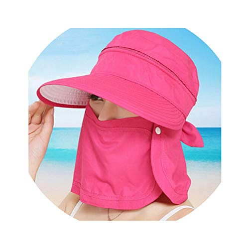 Fashion Women's Foldable Sun Hat UV Protection Wide Brim Sun Hat,Rose -