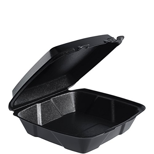 Dart 90HTB1R Lg Black Foam Hinged Container, 9 in (Case of 200)