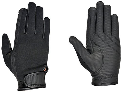 Riders Trend Erwachsene Reiter Handschuhe Reithandschuhe Neopren innen Ziegenanilinleder, Black, XS, 10034474