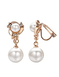 Yoursfs Clip on Pearl Earrings for Women Elegant Faux Pearl Clip-on Dangle Earrings