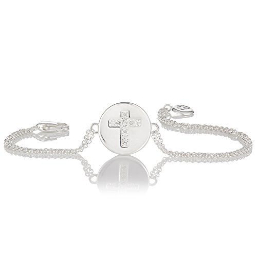 Molly B London | Personalized 925 Sterling Silver Girl's Angel of Mine White Topaz Cross Bracelet