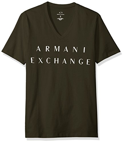 A|X Armani Exchange Men's Basic Logo V Neck Tee, DK Moss, Large (Mens Armani T-shirts Green)