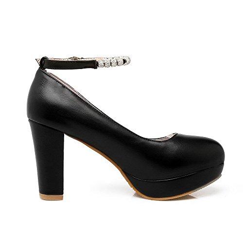 Allhqfashion Fbudd011625 Suljetun Solid kengät Toe Pumput Pyöreä Musta Korkokenkiä Solki Naisten rzOcFr