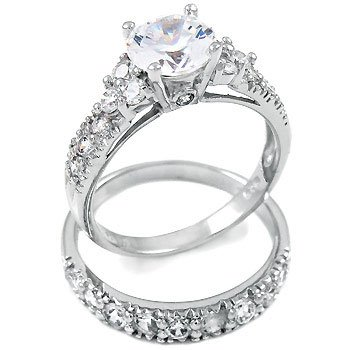 amazoncom sterling silver cubic zirconia cz wedding engagement ring set jewelry - Engagement And Wedding Ring Set