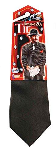 61847 Black Satin Gangster Costume Tie Gangster Tie (Zoot Suit Costume Tie)