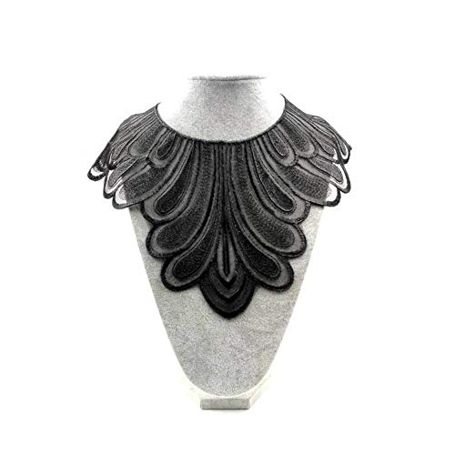 Potato001 Fashion Embroidery Fake Collar Sleeve Cuff Neckwear DIY Sewing Lace Applique - Black