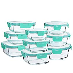 """Glass Food Storage Container Set18 Pieces Glass Food Storage Containers with Lids(9 lids & 9 Containers)Including 3 different types and 9 volumes:9 PCS Lids1 PCE of 300 ml Rectangle Glass Container, 5.7""""x4.2""""x1.9"""", 10.2oz/1.3cup1 PCE of 630 ml Re..."""