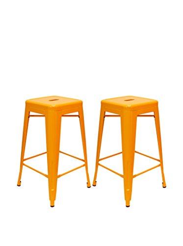 Aeon Decor - Aeon Furniture Counter Stool in Orange - Set of 2