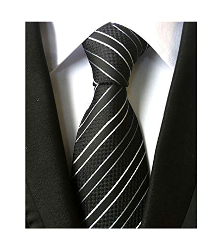 (Mens Striped Black and White Striped Tie Extra Long Regular College Silk)