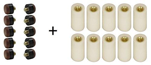 Screw-On Tips for Pool Cues - Hard (12mm, Includes 10 (Pool Cue Ferrule)