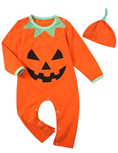 Little Fancy Baby Boys Girls Outfit Set Long Sleeve Cartoon Halloween Pumpkin Face Romper with Hat (0-3 Months, Orange02)