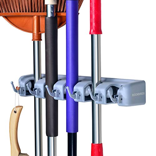 RockBirds Mop and Broom Holder, Wall Mounted Organizer-Mop and Broom Storage Tool Rack with 5 Ball Slots and 6 Hooks for Bathroom Laundry Room Closet Gardening (1 Pack)