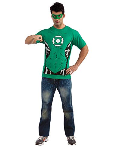 DC Comics Mens' Green Lantern T-Shirt with Eye Mask and Ring, Green, -