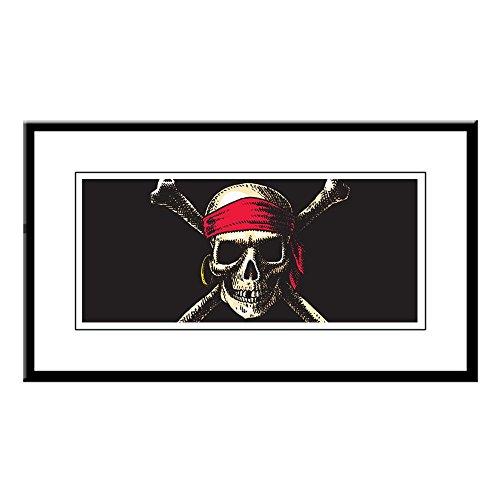Small Framed Print Pirate Skull Crossbones (Print Small Skull Framed)