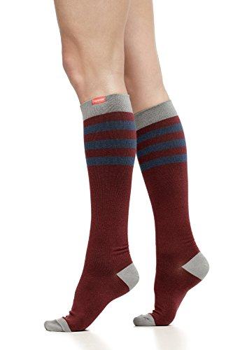 VIM & VIGR Women's 15-20 mmHg Compression Socks: Rugby Stripe - Burgundy & Navy (Cotton) (Wide ()