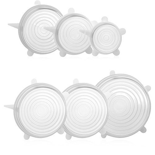 Silicone Stretch Lids 6 Pack Different Size FDA Approved Stretchable Food Covers for Cups, Pots, Can,bowls,Dishes,Mugs,Jars - Silicone Clear Lid