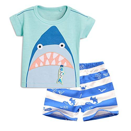 Meeyou Little Boys' Cotton Short Sleeve T-Shirt & Plaid Shorts Set (7 Long, Shark)