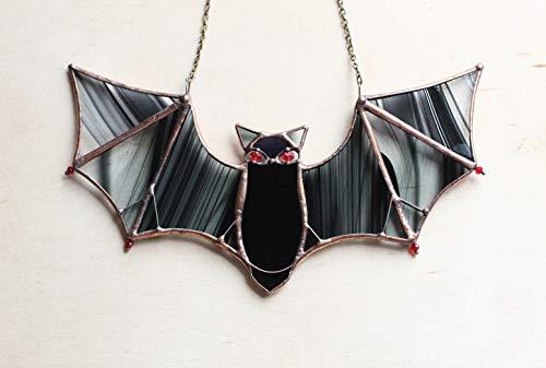 Halloween Window Decoration, Stained Glass Black Bat Suncatcher, Hanging Bat, Halloween Decor Outdoor, Batman Gift, Housewarming gifts handmade]()