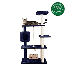 Furhaven Pet Cat Tree | Tiger Tough Cat Tree House Condo Perch Entertainment Playground Furniture for Cats & Kittens – Available in Multiple Colors & Styles