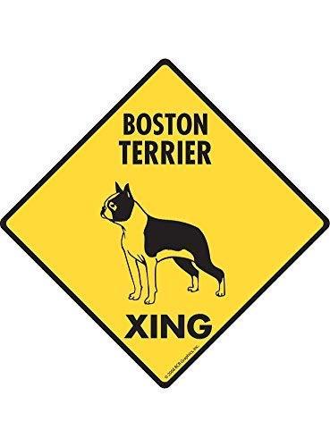 Liz66Ward Warning Boston Terrier Xing Crossing Sign Aluminum Metal Warning Sign Plaque Funny Novelty Gifts 12x12 Yard Sign Garden ()