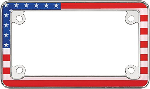 Cruiser Accessories 77203 Chrome MC USA Flag License Plate Frame (Chrome Motorcycle Frames)