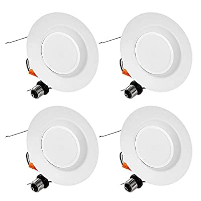 """TORCHSTAR 15W 5/6"""" Dimmable LED Recessed Downlight Retrofit, Ultra Bright 1000lm, 100W Equiv, ENERGY STAR & UL Certified, High CRI 90+, 4000K Cool White, 5 YEARS WARRANTY, Pack of 4"""