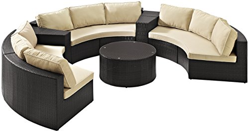 (Crosley Furniture Catalina 6-Piece Outdoor Wicker Coffee Table and Sectional Sofa with Sand Cushions - Brown)