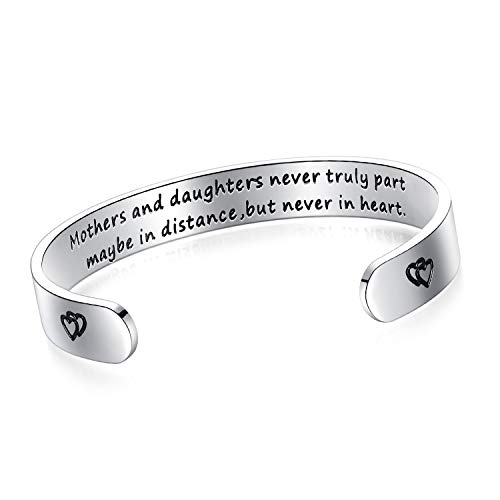 BESTTERN Inspirational Bracelet Cuff Bangle Mantra Quote Keep Going Stainless Steel Engraved (Mothers and Daughters Never Truly Part Maybe in Distance but Never in Heart) (Heart Charm Cuff)