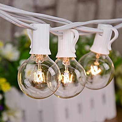 SkrLights 25Ft Outdoor String Lights G40 String Lights Edison Bulbs with 27 Clear Globe Bulbs, UL Certified for Indoor/Outdoor Wedding Party Bistro Decoration- 5 Watt/120V/E12 Base-White Wire