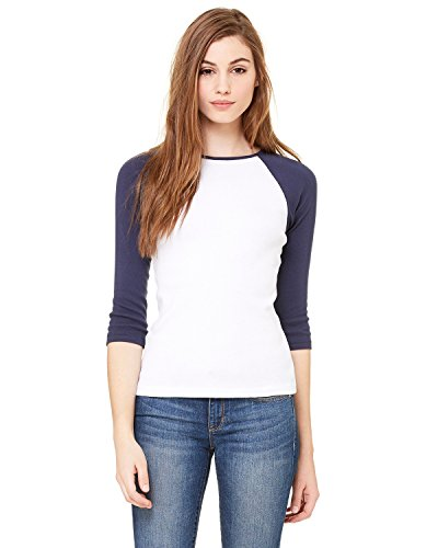 Bella + Canvas Ladies Baby Rib 3/4-Sleeve Contrast Raglan T-Shirt - WHITE/ NAVY - XL - (Style # B2000 - Original Label)