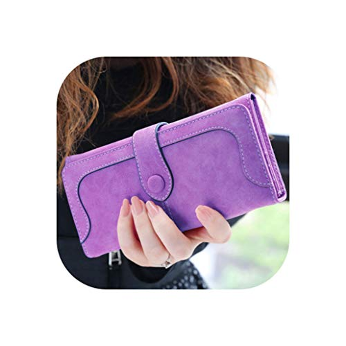 - Many Departments Faux Suede Long Wallet Women Matte Leather Lady Purse Female Wallets Card Holder Clutch Carteras,Chocolate
