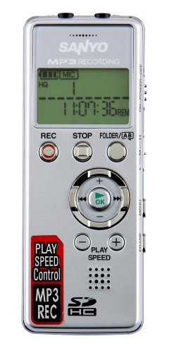 SANYO ICR-FP600D Digital MP3 Voice Recorder with Expandable SD Card Memory Slot