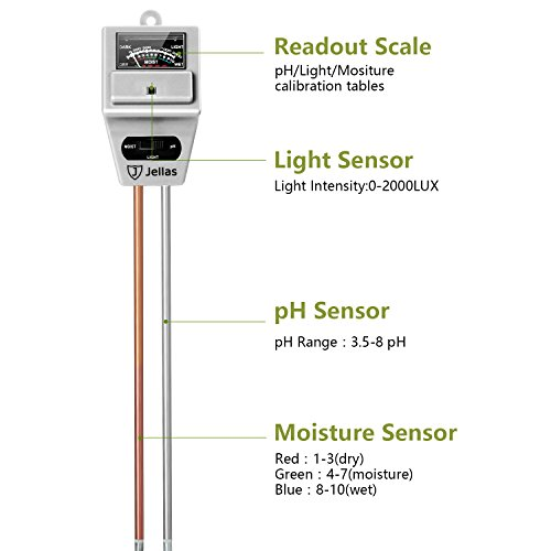 Jellas 3-in-1 Soil Moisture Meter