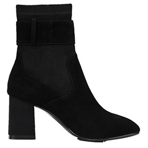 Ankle Round Women's Toe Handmade Nine Cute Buckle Black Leather Boots Chunky Suede Heel Seven Office wxqxIXnT7