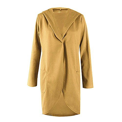 Lucao Women's Fashion Long Jacket Loose Hooded Woolen Coat Trench Coat Outwear With Pockets Plus Size Khaki-XL