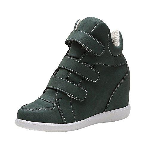 Mujeres Botas Zapatos de Manera Casuales Cuero pezuña de los de la Zapatos cuñas Redonda la Verde Las Acelerar Punta qgwAFS