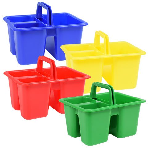 Back to School Elementary Middle High Junior School Classroom Teacher Supplies Colorful Plastic with Handles Craft Caddies (Bundle of 3)