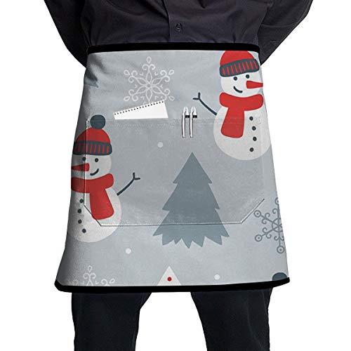 Madge Kelley Kitchen Apron Snowman Picture Waist Tie Half Short Bistro Chef Front Pocket Apron ()