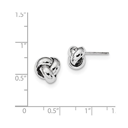 Solid 14k White Gold Polished Love Knot Post Earrings (10mm x 10mm) by Sonia Jewels (Image #1)