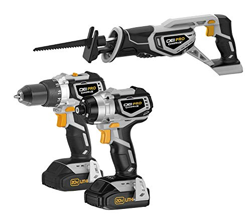 (CONSTRUX PRO CXP20VDIR 20V Max Drill, Impact Driver, Reciprocating Saw Combo Kit)