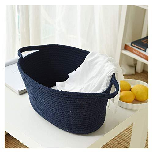 Inough Laundry Basket, Cotton Rope Toy Organizer for Baby Nursery, Kids-Home Decor Storage Bins (Gray, Blue)