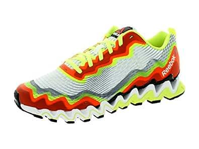 Reebok Men's Zig Ultra Crush Running Shoe,White/Neon Yellow/Black/Fluorescent Orange,10.5 M US