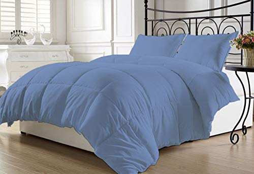 Linen Club Bedding - Duvet Insert or Stand-Alone - 400 Thread Count 1-Piece Quilted Box Stitching Comforter - 400 GSM Microfiber Fill - 100% Cotton Solid - Medium Blue - California King