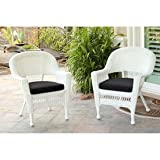 Jeco Wicker Chair in White with Black Cushion (Set of 2)