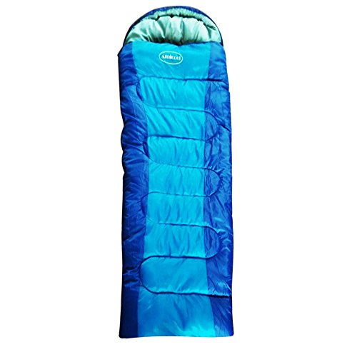 AmiCool Warm Weather Sleeping Bag - Outdoor Camping, Backpacking & Hiking - Fit for Kids, Teens and Adults - Lightweight, Waterproof & Compact(Blue) (Double Sided Stuff Sack compare prices)