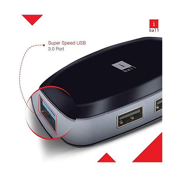 iBall Piano 314 High Speed 4 Port USB 3.0 HUB, Black