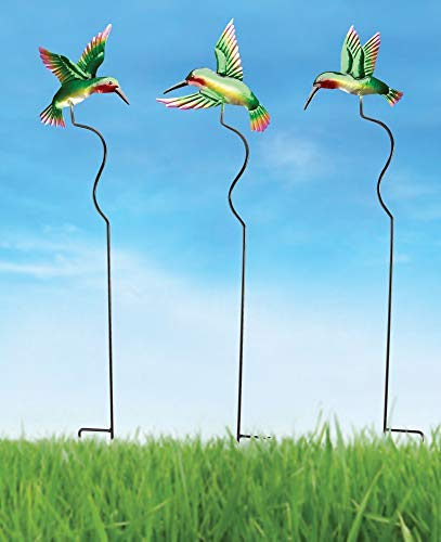 The Paragon Hummingbird Outdoor Planter or Garden Stakes - 3 Piece Garden Yard Decorations