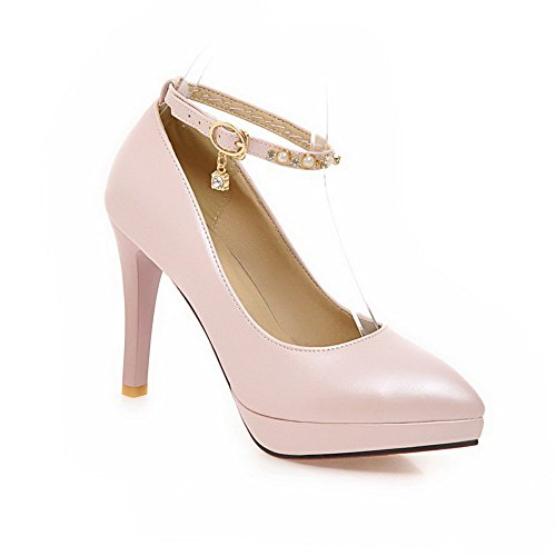 Shoes Cuff Metal Ladies Leather Buckles Studded BalaMasa Pumps Bead Pink Ankle Rhinestones Imitated WPx0SWOqn