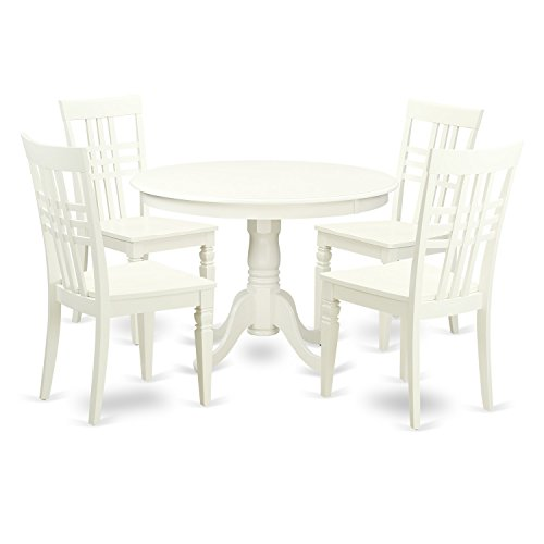 East West Furniture HLLG5-LWH-W 5Piece Hartland Set with One Round 42in Dinette Table & 4 Dinette Chairs with Solid Wood Seat in a Linen White Finish